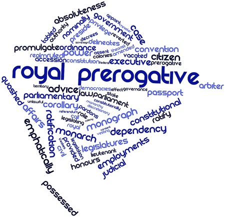 vesting: Abstract word cloud for Royal prerogative with related tags and terms