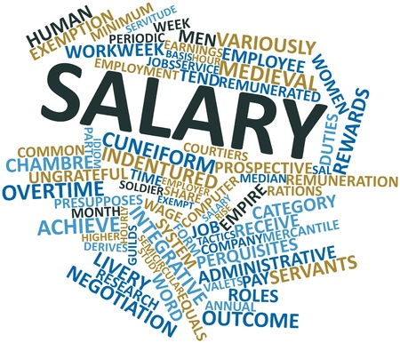 minimum wage: Abstract word cloud for Salary with related tags and terms