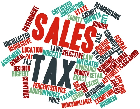 taxable: Abstract word cloud for Sales tax with related tags and terms Stock Photo