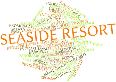 awarded: Abstract word cloud for Seaside resort with related tags and terms
