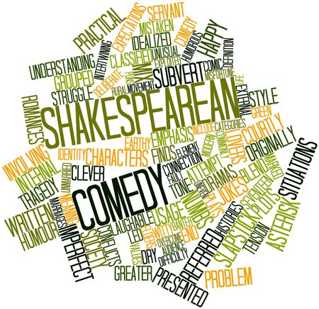 shakespearean: Abstract word cloud for Shakespearean comedy with related tags and terms