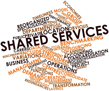 Abstract word cloud for Shared services with related tags and terms Stock Photo - 16983196