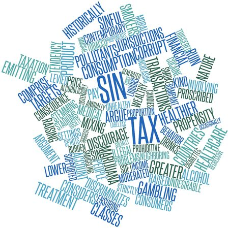 neighboring: Abstract word cloud for Sin tax with related tags and terms Stock Photo