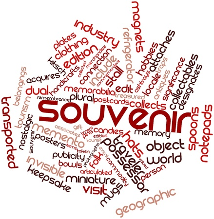 Abstract word cloud for Souvenir with related tags and terms photo