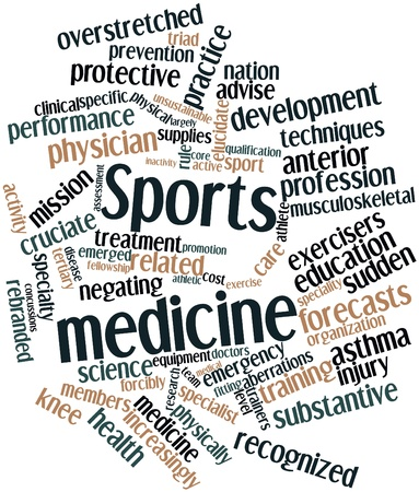 physically: Abstract word cloud for Sports medicine with related tags and terms Stock Photo