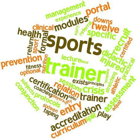 individual sports: Abstract word cloud for Sports trainer with related tags and terms