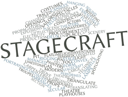continued: Abstract word cloud for Stagecraft with related tags and terms Stock Photo