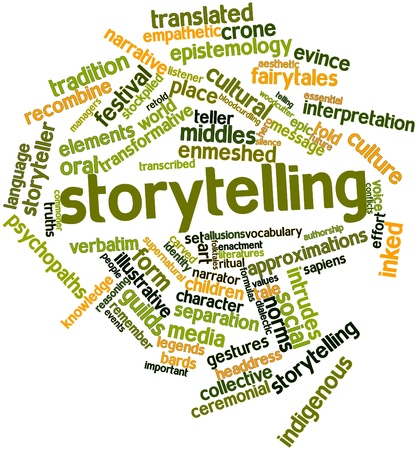 narrator: Abstract word cloud for Storytelling with related tags and terms Stock Photo