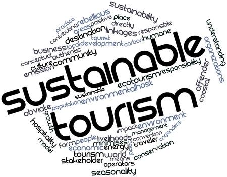desarrollo sustentable: Nube palabra abstracta para el turismo sostenible con las etiquetas y términos relacionados