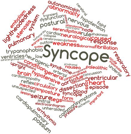 outflow: Abstract word cloud for Syncope with related tags and terms Stock Photo