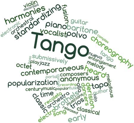 malandros: Nube palabra abstracta para Tango con las etiquetas y términos relacionados