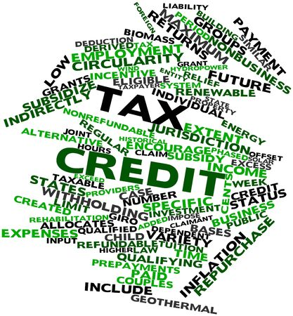 subsidize: Abstract word cloud for Tax credit with related tags and terms Stock Photo