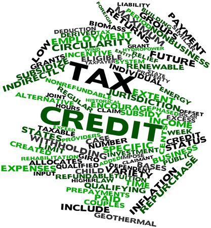 eligible: Nube palabra abstracta para el cr�dito fiscal con las etiquetas y t�rminos relacionados