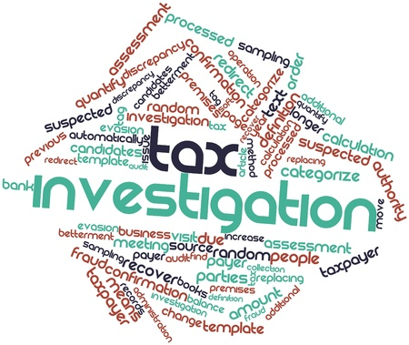 premises: Abstract word cloud for Tax investigation with related tags and terms