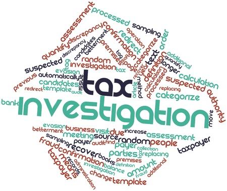 investigacion: Nube palabra abstracta para la investigación fiscal con las etiquetas y términos relacionados Foto de archivo