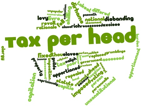 rationale: Abstract word cloud for Tax per head with related tags and terms Stock Photo