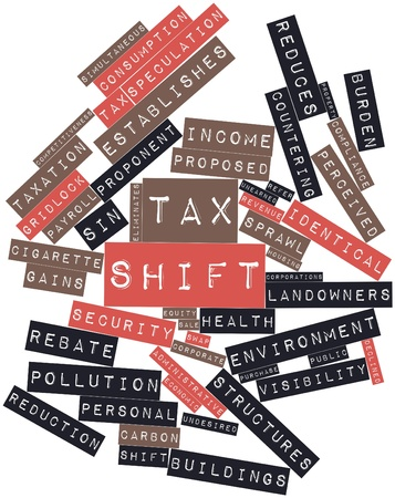 changes in equity: Abstract word cloud for Tax shift with related tags and terms