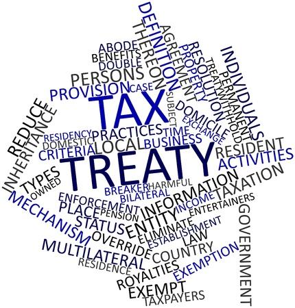 verdrag: Abstract woordwolk voor Belastingverdrag met gerelateerde tags en voorwaarden