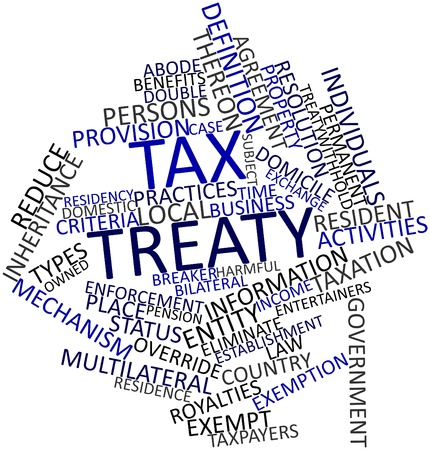 taxpayers: Abstract word cloud for Tax treaty with related tags and terms