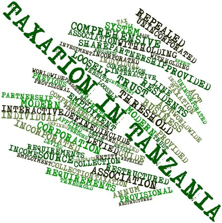 levied: Abstract word cloud for Taxation in Tanzania with related tags and terms Stock Photo