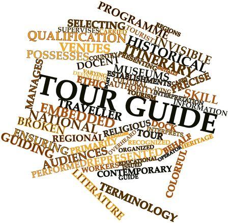 guia turistico: Nube palabra abstracta para gu�a tur�stica con etiquetas y t�rminos relacionados Foto de archivo