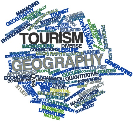 motivations: Abstract word cloud for Tourism geography with related tags and terms Stock Photo