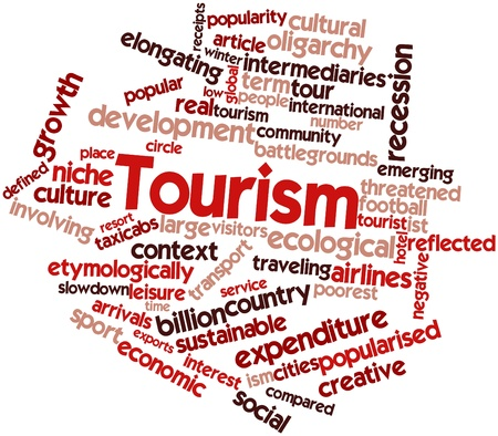 abating: Abstract word cloud for Tourism with related tags and terms Stock Photo