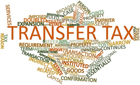 eliminated: Abstract word cloud for Transfer tax with related tags and terms Stock Photo