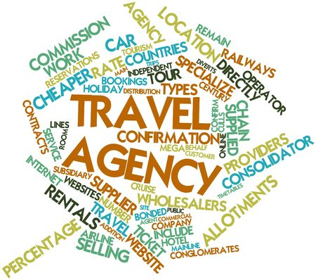 subsidiary company: Abstract word cloud for Travel agency with related tags and terms