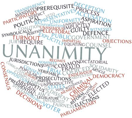 turnout: Abstract word cloud for Unanimity with related tags and terms