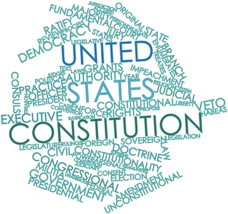 jurists: Abstract word cloud for United States Constitution with related tags and terms