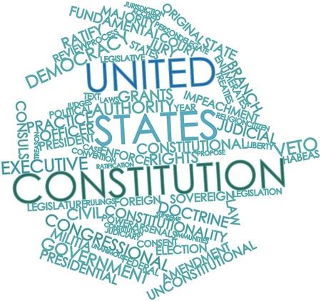ratificaci�n: Nube palabra abstracta para Constituci�n de Estados Unidos con las etiquetas y t�rminos relacionados Foto de archivo
