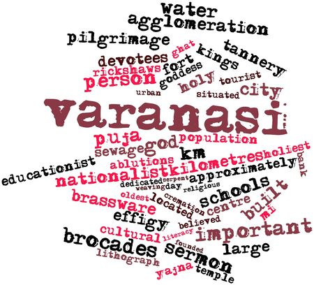 approximately: Abstract word cloud for Varanasi with related tags and terms Stock Photo
