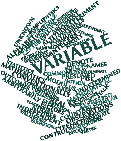 denote: Abstract word cloud for Variable with related tags and terms