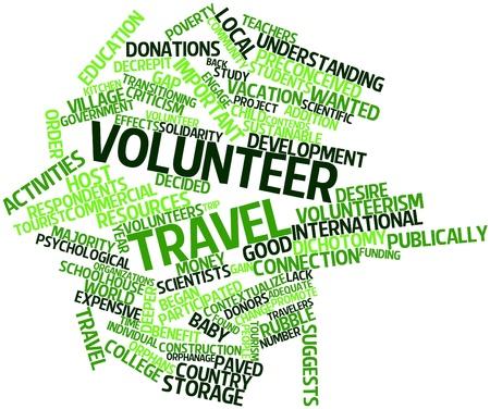 ボランティア旅行関連タグと用語の抽象的な言葉の雲