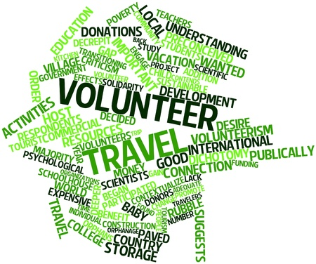 Abstract word cloud for Volunteer travel with related tags and terms photo