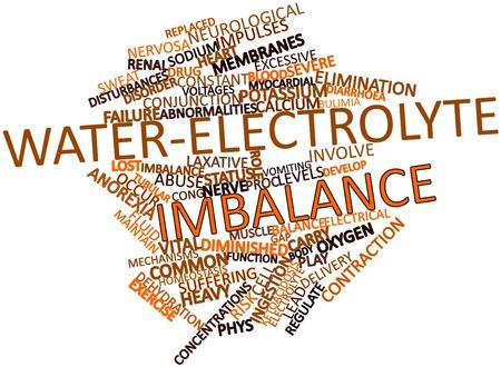 imbalance: Abstract woordwolk voor Water-verstoring van de elektrolytenbalans met gerelateerde tags en voorwaarden Stockfoto