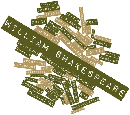 performed: Abstract word cloud for William Shakespeare with related tags and terms Stock Photo