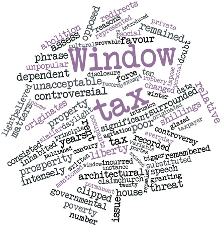 sur: Abstract word cloud for Window tax with related tags and terms