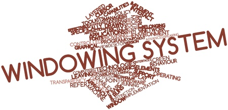strictly: Abstract word cloud for Windowing system with related tags and terms Stock Photo