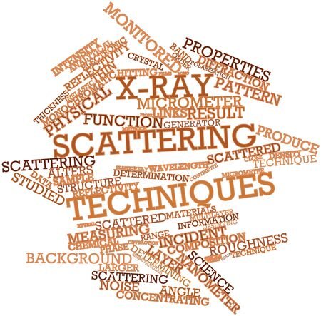 reflectivity: Abstract word cloud for X-ray scattering techniques with related tags and terms Stock Photo
