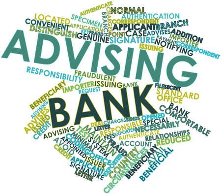 Abstract word cloud for Advising bank with related tags and terms Stock Photo - 17024443