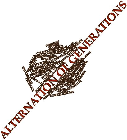 ova: Abstract word cloud for Alternation of generations with related tags and terms Stock Photo