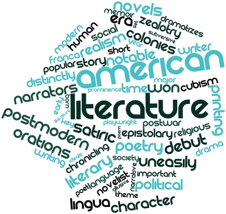 characterization: Abstract word cloud for American literature with related tags and terms Stock Photo