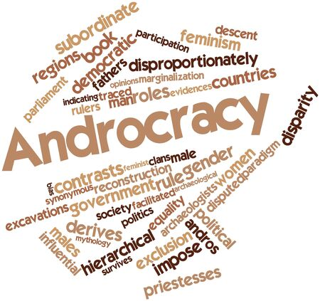 synonymous: Abstract word cloud for Androcracy with related tags and terms