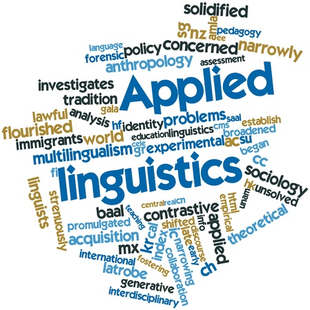 Abstract word cloud for Applied linguistics with related tags and terms Stock Photo