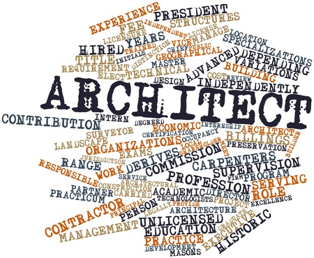 technologists: Abstract word cloud for Architect with related tags and terms