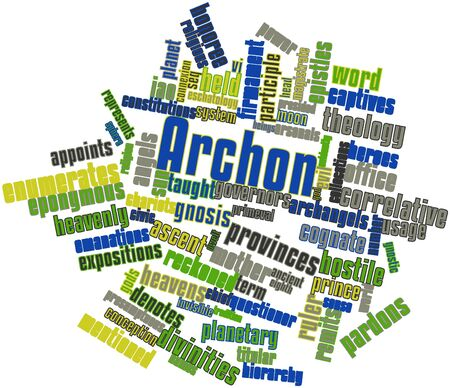 Abstract word cloud for Archon with related tags and terms Banco de Imagens