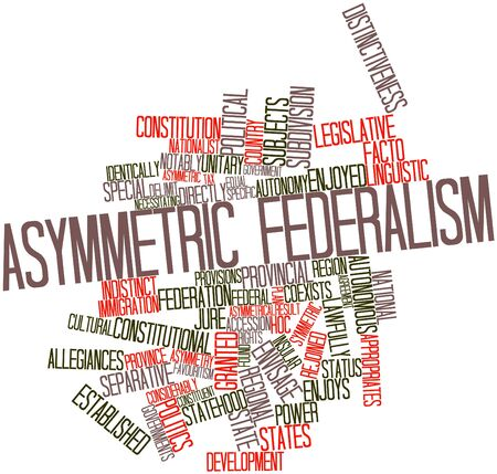 facto: Abstract word cloud for Asymmetric federalism with related tags and terms Stock Photo