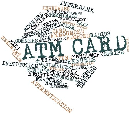 refunds: Abstract word cloud for ATM card with related tags and terms Stock Photo